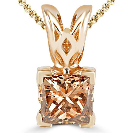 Princess Cut Champagne Diamond Solitaire V-Prong Decorative-Bail Pendant Necklace with Chain in Yellow Gold - #PSF-Y-CHAMP