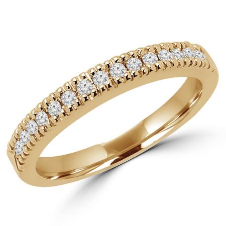 Round Cut Diamond Multi-Stone Fashion Semi-Eternity Wedding Band Ring in Yellow Gold - #MLK-2303WS-B-Y