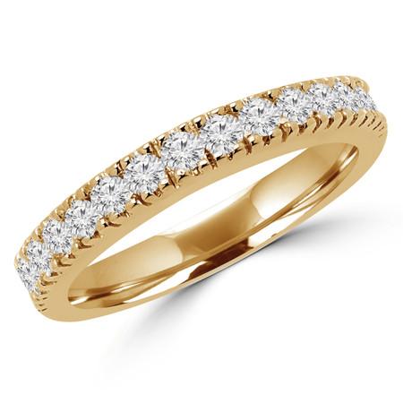 Round Cut Diamond Multi-Stone Arched Semi-Eternity Wedding Band Ring in Yellow Gold - #2457WS-B-Y