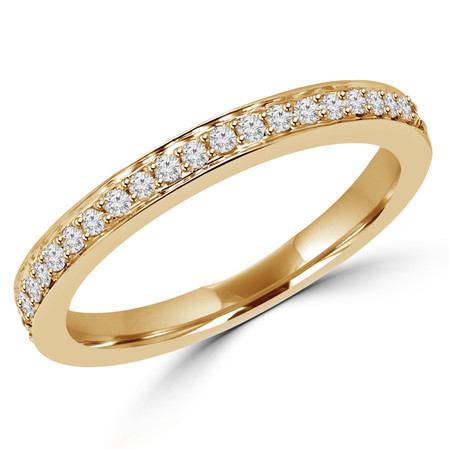 Round Cut Diamond Multi-Stone Semi-Eternity Wedding Band Ring in Yellow Gold - #2459WBS