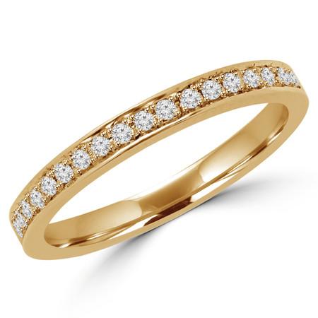 Round Cut Diamond Multi-Stone Classic Semi-Eternity Wedding Band Ring in Yellow Gold - #MLK-2566WS-B-Y