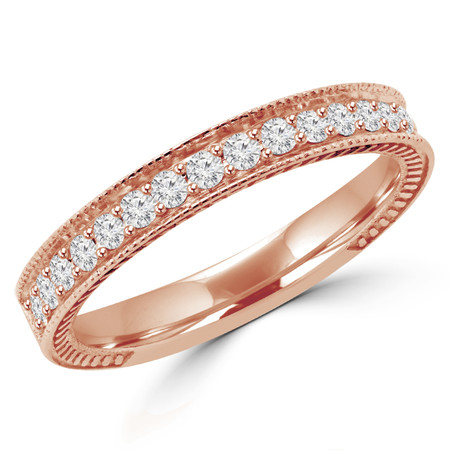 Round Cut Diamond Multi-Stone Fashion Semi-Eternity Wedding Band Ring in Rose Gold - #HR6207-BAND-R