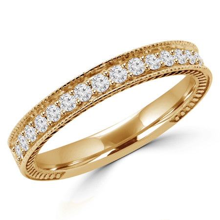 Round Cut Diamond Multi-Stone Fashion Semi-Eternity Wedding Band Ring in Yellow Gold - #HR6207-BAND-Y