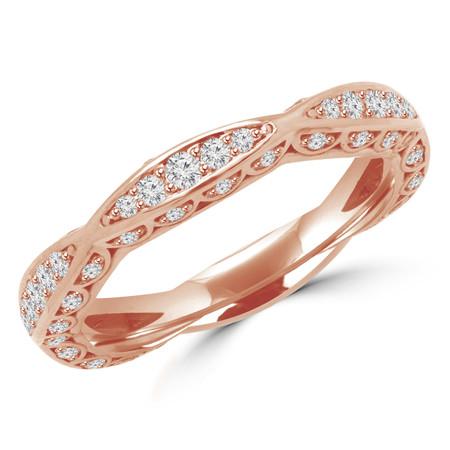 Round Cut Diamond Multi-Stone Classic Semi-Eternity Scalloped Wedding Band Ring in Rose Gold - #BAR-R