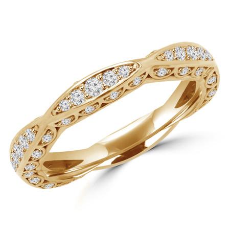 Round Cut Diamond Multi-Stone Classic Semi-Eternity Scalloped Wedding Band Ring in Yellow Gold - #BAR-Y