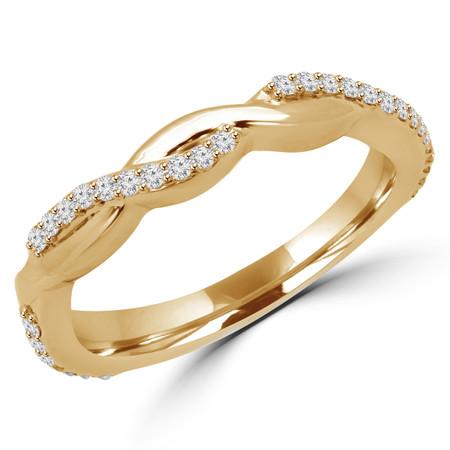 Round Cut Diamond Multi-Stone Twisted Semi-Eternity Wedding Band Ring in Yellow Gold - CLAUDIA-B-Y