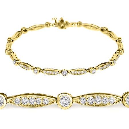 Round Cut Diamond Shared-Prong Fashion Tennis Bracelet in Yellow Gold - #B1741-Y