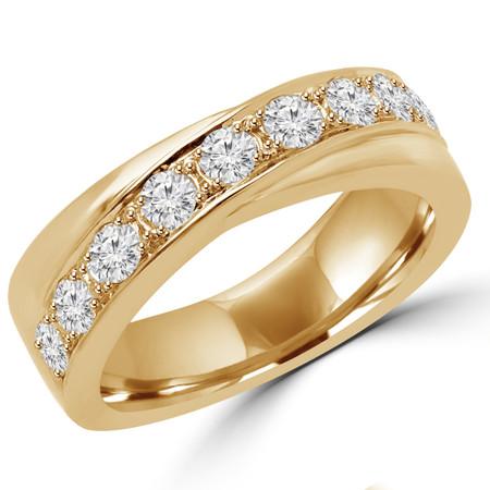 Round Cut Diamond Multi-Stone Fashion Wedding Band Ring in Yellow Gold - #DYKE-Y