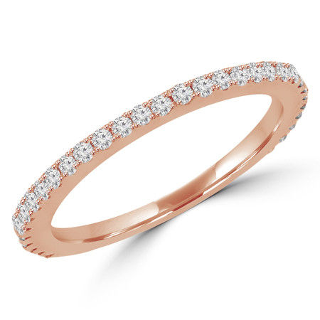Round Cut Diamond Semi-Eternity Wedding Band Ring in Rose Gold - #EVAN-BAND-R