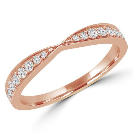 Round Cut Diamond Multi-Stone Semi-Eternity Wedding Band Ring in Rose Gold - #STELLA-2546-R
