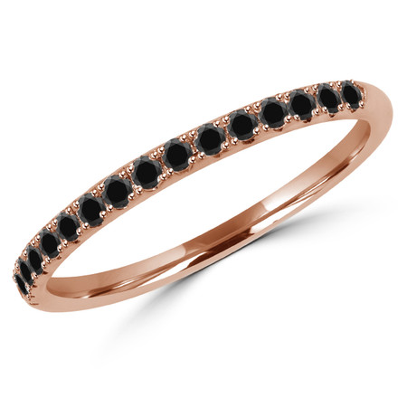 Round Cut Black Diamond Semi-Eternity Wedding Band Ring in Rose Gold - #DOUBLE-HALO-BAND-BLK-R