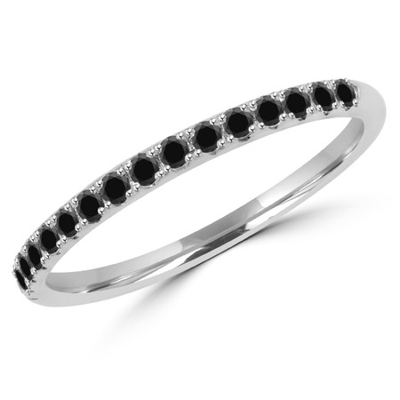 Round Cut Black Diamond Semi-Eternity Wedding Band Ring in White Gold - #DOUBLE-HALO-BAND-BLK-W