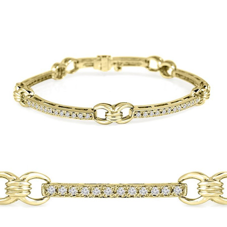 Round Cut Diamond 4-Prong Tennis Bracelet in Yellow Gold - #B1913-Y