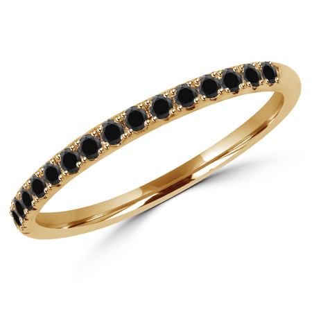 Round Cut Black Diamond Semi-Eternity Wedding Band Ring in Yellow Gold - #DOUBLE-HALO-BAND-BLK-Y