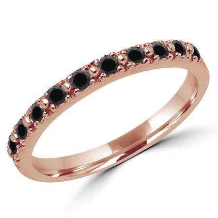 Round Cut Black Diamond Multi-Stone Shared-Prong Wedding Band Ring in Rose Gold - #NOVOBAND-R-BLK