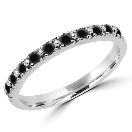 Round Cut Black Diamond Multi-Stone Shared-Prong Wedding Band Ring in White Gold - #NOVOBAND-W-BLK