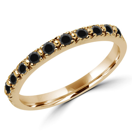 Round Cut Black Diamond Multi-Stone Shared-Prong Wedding Band Ring in Yellow Gold - #NOVOBAND-Y-BLK