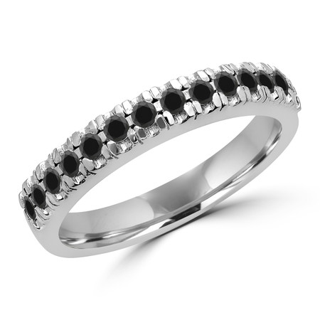 Round Cut Black Diamond Multi-Stone Semi-Eternity Scallop-Prong Wedding Band Ring in White Gold - #LOCAL-NOVO-B-BLK-W
