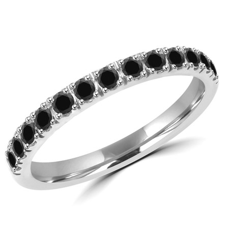 Round Cut Black Diamond Semi Eternity Band Ring in White Gold - #PAULO-B-W-BLK