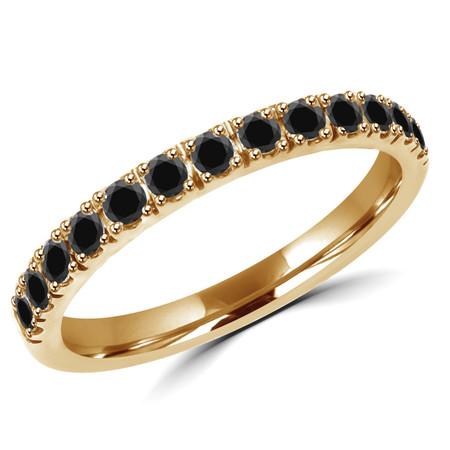 Round Cut Black Diamond Semi Eternity Band Ring in Yellow Gold - #PAULO-B-Y-BLK