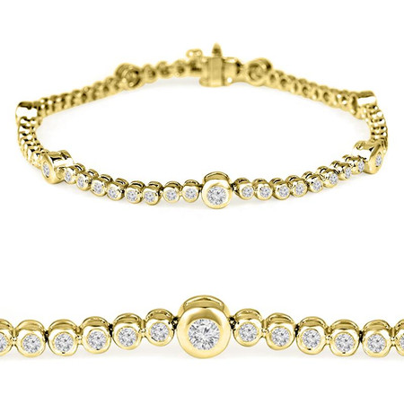 Round Cut Diamond Bezel-Set Tennis Bracelet in Yellow Gold - #B2118-Y
