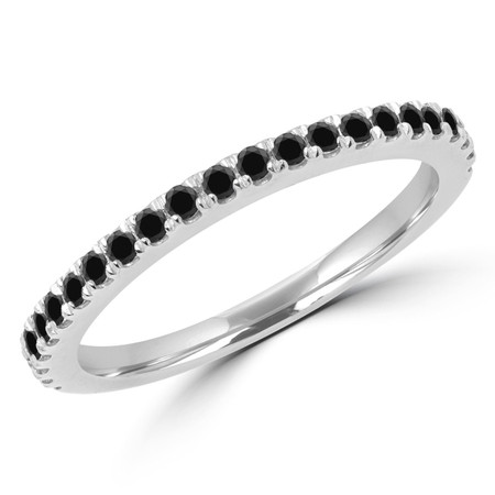 Round Cut Black Diamond Multi-Stone Semi-Eternity Wedding Band Ring in White Gold - #JENNA-B-BLK-W