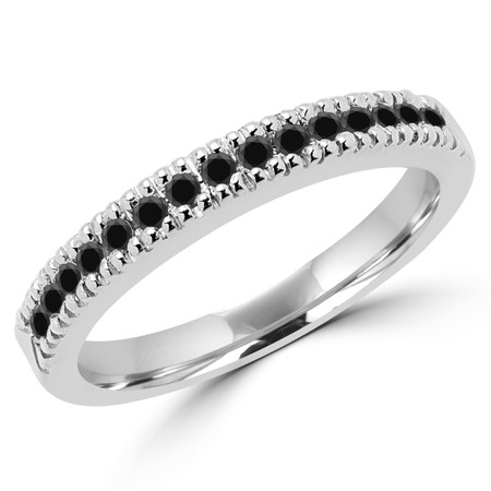 Round Cut Black Diamond Multi-Stone Shared-Prong Wedding Band Ring in White Gold - #MLK-2303WS-B-BLK