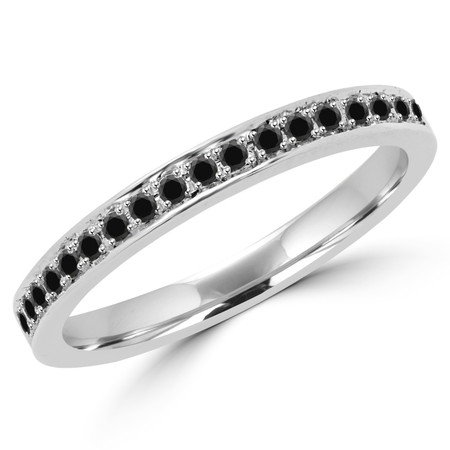 Round Cut Black Diamond Multi-Stone Shared-Prong Wedding Band Ring in White Gold - #MLK-2566WS-B-W-BLK