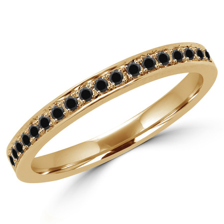 Round Cut Black Diamond Multi-Stone Shared-Prong Wedding Band Ring in Yellow Gold - #MLK-2457WS-B-BLK