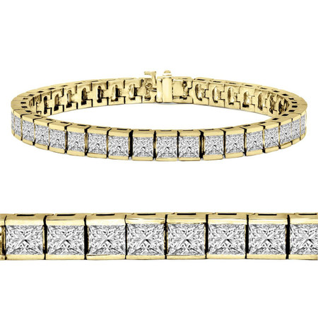 Radiant Cut Diamond Bar Set Tennis Bracelet in Yellow Gold - #B-619-Y