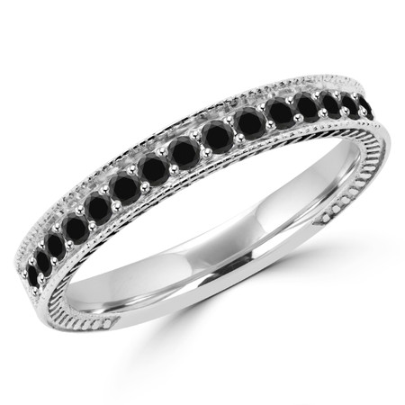 Round Cut Black Diamond Multi-Stone Fashion Semi-Eternity Wedding Band Ring in White Gold - #HR6207-BAND-BLK-W