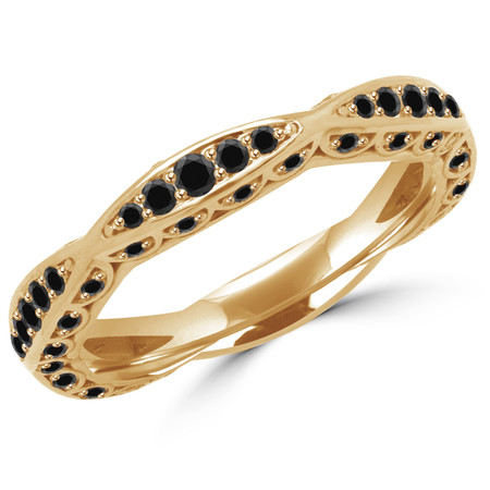 Round Cut Black Diamond Multi-Stone Classic Semi-Eternity Scalloped Wedding Band Ring in Yellow Gold - #BAR-BLK-Y