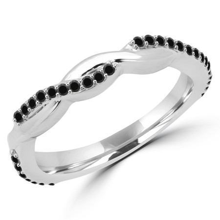 Round Cut Black Diamond Semi-Eternity Wedding Twisted Band Ring in White Gold - #MD-R-CLAUDIA-W-BLK