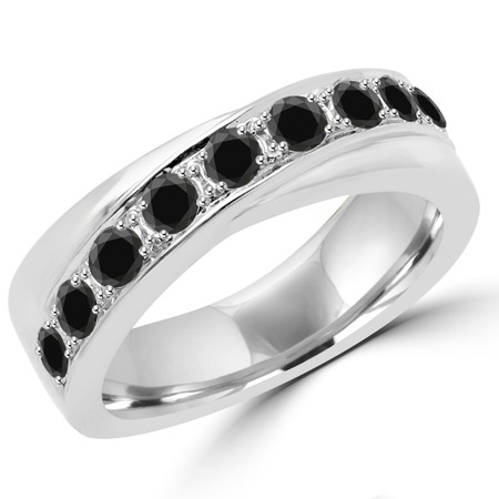 Round Cut Black Diamond Multi-Stone Fashion Wedding Band Ring in White Gold - #DYKE-BLK-W