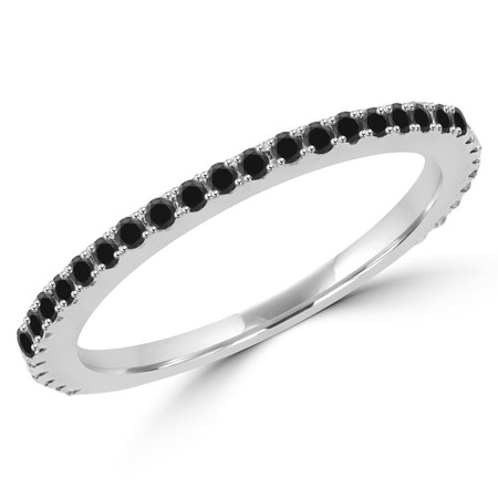 Round Cut Black Diamond Multi-Stone Semi-Eternity Wedding Band Ring in White Gold - #EVAN-B-BLK-W