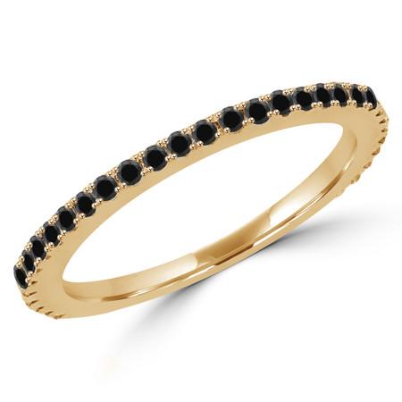 Round Cut Black Diamond Multi-Stone Semi-Eternity Wedding Band Ring in Yellow Gold - #EVAN-B-BLK-Y