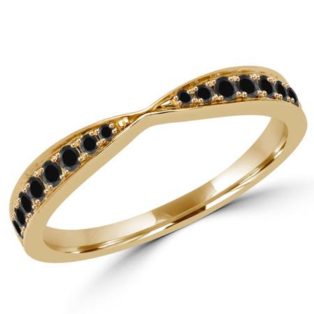 Round Cut Black Diamond Multi-Stone Semi-Eternity Wedding Band Ring in Yellow Gold - #STELLA-2546-BLK-Y