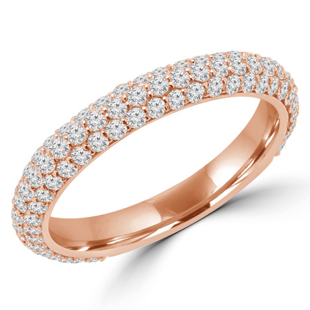 Round Cut Diamond Three-Row Semi-Eternity Wedding Band Ring in Rose Gold - #GIZA-BAND-R