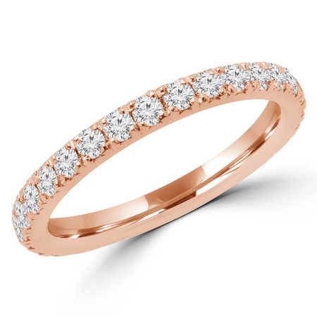 Round Cut Diamond Multi-Stone Semi-Eternity Wedding Band Ring in Rose Gold - #IWA-B-R