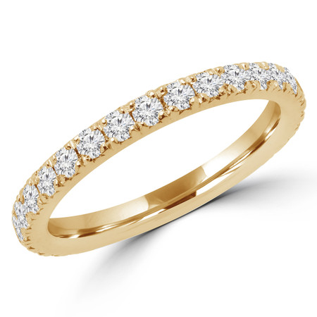 Round Cut Diamond Multi-Stone Semi-Eternity Wedding Band Ring in Yellow Gold - #IWA-B-Y