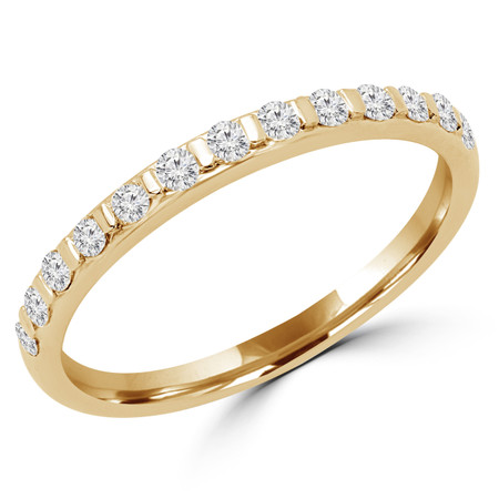 Round Cut Diamond Multi-Stone Classic Semi-Eternity Wedding Band Ring in Yellow Gold - #CALINA-B-Y