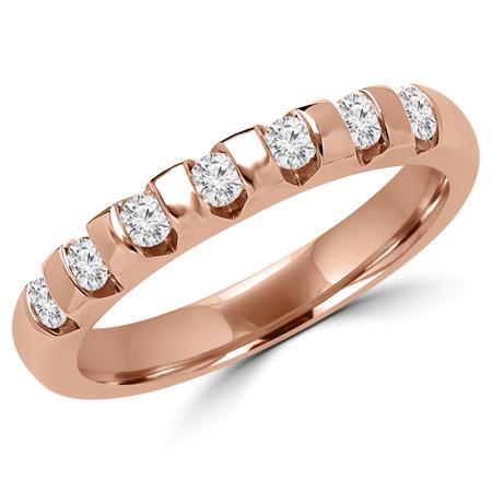 Round Cut Diamond Semi-Eternity Bar-Set Wedding Band Ring in Rose Gold - #2200L-R