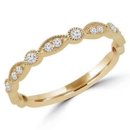 Round Cut Diamond Multi-Stone Semi-Eternity Wedding Band Ring in Yellow Gold - DARIO-B-Y