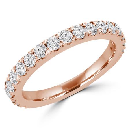 Round Cut Diamond Multi-Stone Fashion Semi-Eternity Wedding Band Ring in Rose Gold - #IMAN-B-R