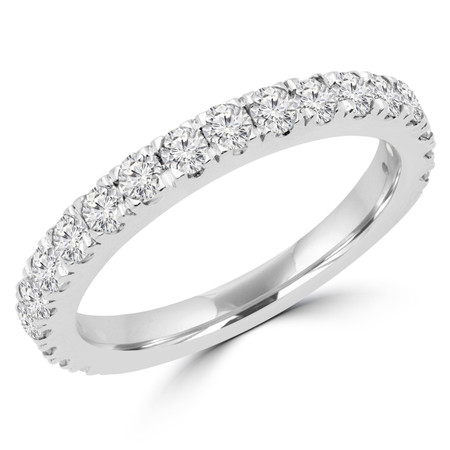 Round Cut Diamond Multi-Stone Fashion Semi-Eternity Wedding Band Ring in White Gold - #IMAN-B-W