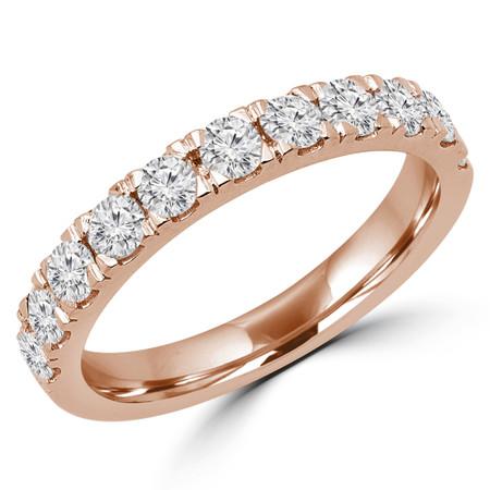 Round Cut Diamond Semi Eternity Band Ring in Rose Gold - #PAULEY-R