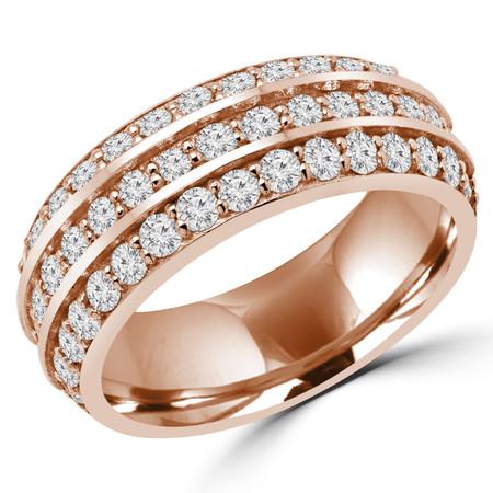 Round Cut Diamond Multi-Stone Semi-Eternity Wedding Band Ring in Rose Gold - DAWN-B-R