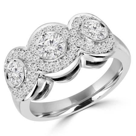 Round Cut Diamond Multi-Stone Bezel-Set Triple-Halo Wedding Band Ring with Round Diamond Accents in White Gold - #IMP-R-F-W