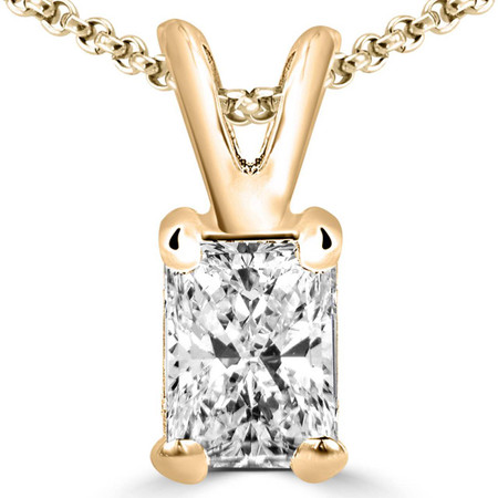Radiant Cut Diamond Solitaire 4-Prong Pendant Necklace with Chain in Yellow Gold - #PE5-Y-RAD
