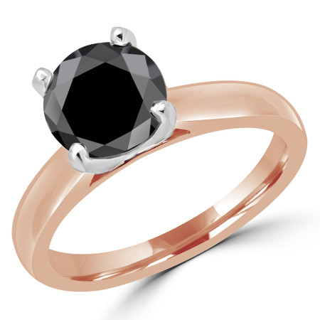 Round Cut Black Diamond Solitaire Cathedral-Set 4-Prong Engagement Ring in Rose Gold - #2545L-BLK-R